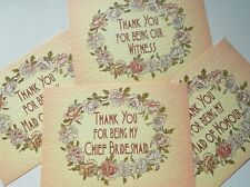 THANK YOU for being my Bridesmaid / Witness card Rose Ring card -can personalise