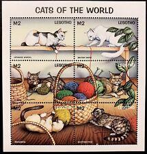 Lesotho Cats Stamp Sheet 6V 1998 Mnh Japanese Bobtail Snowshoe Abyssinia Bengal