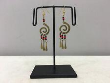 Coil Red Black Beaded Earrings Earrings Masai African Brass Swirl