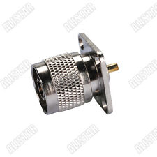 N Type Plug 4 Hole panel Mount Male with solder cup RF Coax Connector Straight