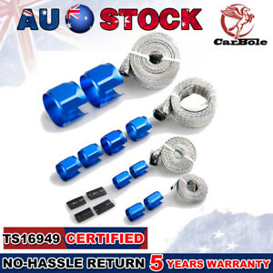BRAIDED STAINLESS STEEL VACUUM/FUEL/RADIATOR/OIL LINE DRESS-UP HOSE COVER BLUE