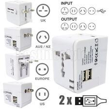 Universal Travel Adapter 2.1A USB Charger UK US EU AU Plug Converter Black White