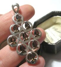 Smokey Topaz Hallmarked Necklace Pendant Vintage Sterling Silver Large Modernist