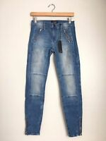 BLACK ORCHID Amber Zipper Moto Super Skinny Jeans Distress Blue 27 $170 #193