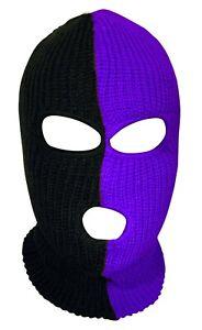 Ski Mask 3 hole Half Purple half Black