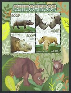 SP31 MNH 2014 XF Large Souvenir Sheet of 4 Diff Wild Animals Endangered Rhinos