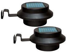 NUOVO 2 X Nero LED Pannello Solare da Giardino Esterno Recinto Muro Grondaia Lampada Percorso Luci