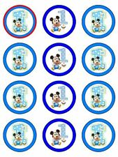 12 MICKEY MOUSE 1ST Edible Icing Image Birthday Cupcake Decoration Cake Toppers