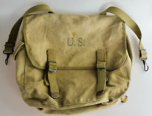 ORIG WK2 WW2 1943 US ARMY MUSETTE BAG KAMPFTASCHE THE LANGDON TENT & AWING CO.