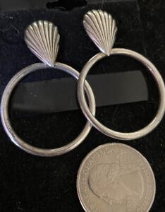Modernist Sterling Silver Artisan Lg Door Knocker   Earrings Southwestern
