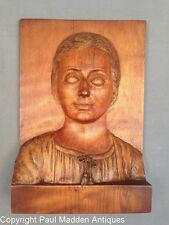 Antique Carved Walnut Bas Relief Portrait