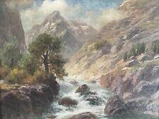 Ölgemälde Vedute Gebirgsbach Alpen Alpspitze Watzmann? P. Heitinger München~1900