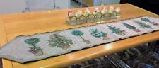 Cheri Blum Christmas Tree Topiaries Holiday Table Runner Woven Tapestry Signed