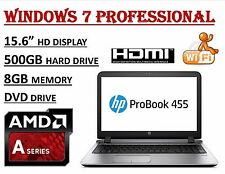 "HP ProBook 455 G3 15.6"" AMD A8-7410 Quad, 8GB, 500GB HDD, Radeon R5, Win7 Pro"