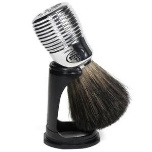 Omega Italy Badger Hair Shaving Brush Stand Travel Cover Chrome Plated Handle