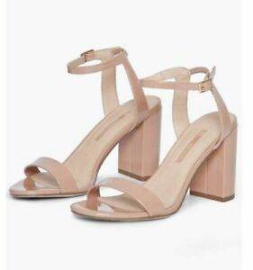 Dorothy Perkins Womens Nude Shimmer Strap Heel Sandals Open Toe Shoes New UK 5