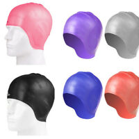 FM- LK_ Silicone Adult Long Hair Protection Waterproof Swimming Ear Cap Hat Sple