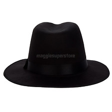Black Vintage Women Men Wool Felt Ribbon Wide Brim Fedora Trilby Hat Floppy Cap