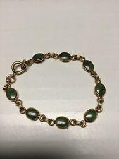 Vintage Green Scarab Like Bracelet 7.5� Length 8 Gorgeous Oval Stones 1/20 12k
