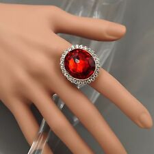 18K Gold Plated GP Red Crystal Rhinestone Adjustable Fashion Custom ring 00252