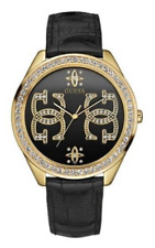 Guess Women's G Logo Black Gold Genuine Leather Watch 0266