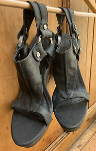 Quirky Pair of Leather Wedge Sandles By Calvin Klein size 4uk (37) Boho/goth