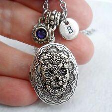 Gothic Skull Filigree Locket with Swarovski Birthstone Crystal and Letter Charm