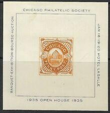 Chicago Philatelic Society Stamp Exposition souvenir sheet 1935, Cinderella