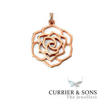 925 Sterling Silver Triple Layer Rose Pendant Necklace (Chain Included)