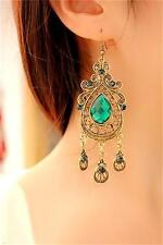 Aulic Style Green Crystal Emerald Long Dangle Chandelier Hook Earrings Gift New