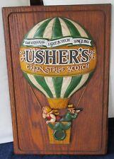 "USHER'S GREEN STRIPE SCOTCH HOT AIR BALLON SIGN 18"" X 12"""
