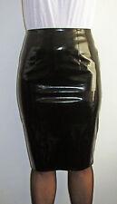 Shiny black pvc vinyl pencil skirt