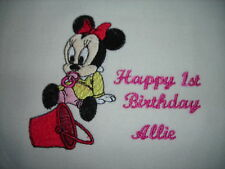 personalize with your childs name happy 1st  birthday baby minnie mouse  bibs