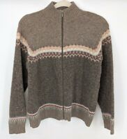 Woolrich Sweater Women's Size Medium Full Zip 100% Lambs Wool Hickory
