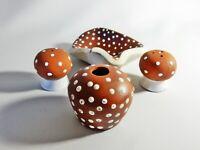 Superb Vintage Australian Pottery Studio Fisher Cruet Set Salt Pepper Toothpick