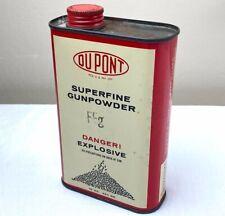 Empty Vtg Dupont Superfine Black Rifle Powder Ffg Can Tin Old Logo