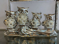 4 SILVER MILLE HAPPY OWL DECORATION ORNAMENT STATUE PEARL DIAMANTE ROMANY FIGURE