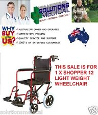 AUSCARE SHOPPER 12 TRANSIT PUSH WHEEL CHAIR RED 100KG CAPACITY RED