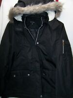 New Womens Look Sleek Coat Pocket PARKA Faux Fur SHERPA Jacket Hooded Black MED