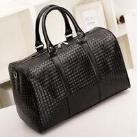 Large Fashion Mens Black Leather Travel Bag Weekend Overnight Duffle Handbag