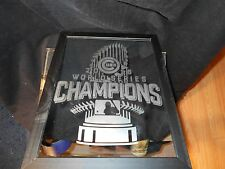 2016 WORLD SERIES CHAMPION CHICAGO CUBS 9X12 ETCHED MIRROR BLACK WOOD FRAME