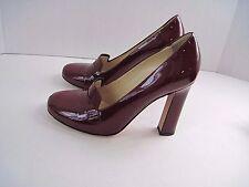 Kate Spade Jolene Dark Red Patent Leather Penny Loafer Heels Size 7 1/2 M