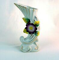 Vintage Porcelain Bud Vase Cornucopia Raised Flower And Leaves Gold Trim Japan