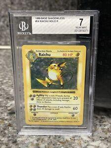 BGS 7 Shadowless Raichu 14/102 Holo Pokemon Base Set Near Mint NM PSA 8 Fresh 🔥