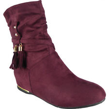 New Womens Ladies Tassle Faux Suede Slouch Low Heel Wedge Ankle Boots Shoes Size