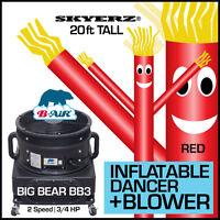 B-Air® BB-3 Big Bear Air Blower & Skyerz® 20ft Inflatable Wind Fly Dancer Red