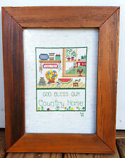 Cross Stitch Finished Framed Thick Wood Glass Country Home Rustic Americana 14""