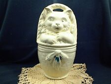 VINTAGE AMERICAN BISQUE CAT IN BASKET COOKIE JAR AND LID WHITE HAIRLINE CRACK