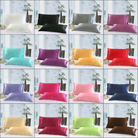 Solid Queen/Standard Silk Satin Pillow Case Bedding Pillowcase Smooth Home NEW