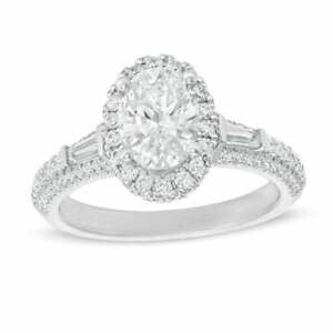 Vera Wang Love Collection 1.39ct Oval Diamond Halo Frame Vintage Engagement Ring